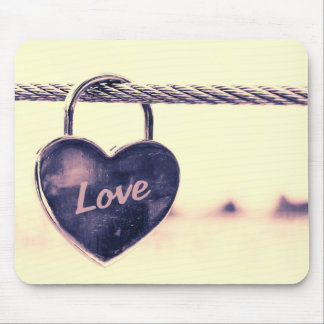 Heart Shaped Love Padlock Attached to a Rope Mouse Pad