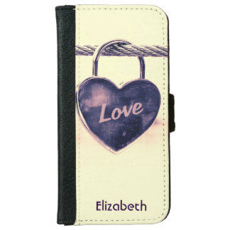 Heart Shaped Love Padlock Personalized iPhone 6/6s Wallet Case