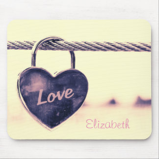 Heart Shaped Love Padlock Personalized Mouse Pad