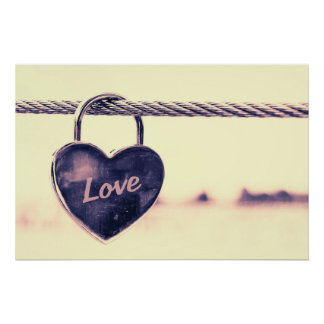 Heart shaped love padlock poster