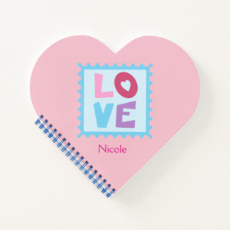 Heart Shaped Love Stamp Personalize Notebook