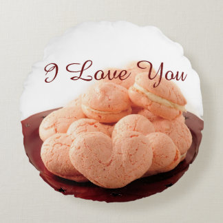 Heart Shaped Macarons Round Pillow