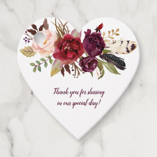 Heart-Shaped Marsala Burgundy Boho Wedding | Favor Tags