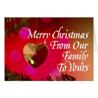 Heart Shaped Merry Christmas Ornament Card