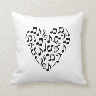 Heart-Shaped Music Notes Pillow (Light Background)