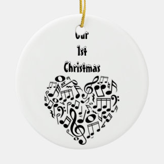 HEART SHAPED MUSICAL NOTES-OUR 1st CHRISTMAS DECOR Ceramic Ornament