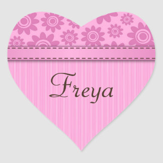 Heart shaped name sticker with pink flower pattern