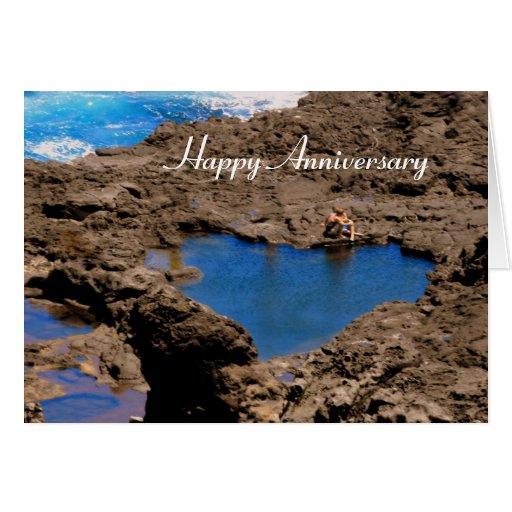 Heart-Shaped Ocean Tide Pool, Maui, Anniversary Greeting Cards