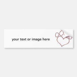 Heart Shaped Paw Print Dog Cat Puppy Kitten Bumper Sticker