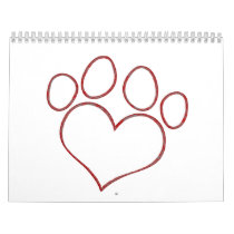 Heart Shaped Paw Print Dog Cat Puppy Kitten Calendar