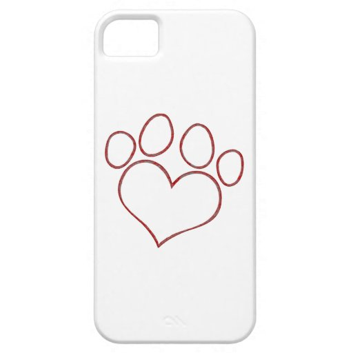 Heart Shaped Paw Print Dog Cat Puppy Kitten iPhone 5/5S Covers