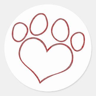 Heart Shaped Paw Print Dog Cat Puppy Kitten Classic Round Sticker