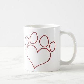 Heart Shaped Paw Print Dog Cat Puppy Kitten Coffee Mug