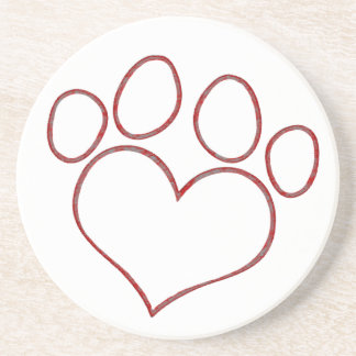 Heart Shaped Paw Print Dog Cat Puppy Kitten Drink Coaster