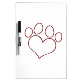 Heart Shaped Paw Print Dog Cat Puppy Kitten Dry Erase Board