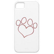 Heart Shaped Paw Print Dog Cat Puppy Kitten iPhone SE/5/5s Case
