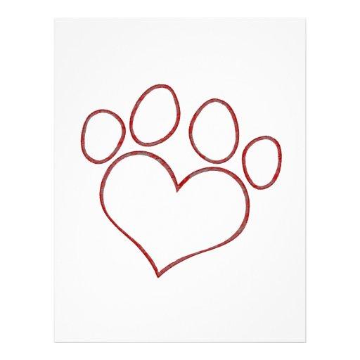 Heart Shaped Paw Print Dog Cat Puppy Kitten Letterhead | Zazzle