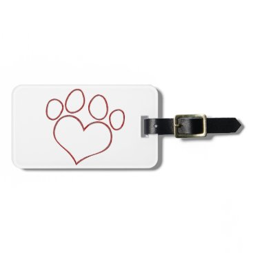 Valentines Themed Heart Shaped Paw Print Dog Cat Puppy Kitten Luggage Tag