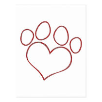 Heart Shaped Paw Print Dog Cat Puppy Kitten Postcard