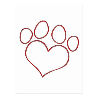 Heart Shaped Paw Print Dog Cat Puppy Kitten Post Cards