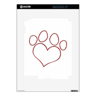 Heart Shaped Paw Print Dog Cat Puppy Kitten Decal For iPad 2