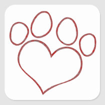 Heart Shaped Paw Print Dog Cat Puppy Kitten Square Sticker