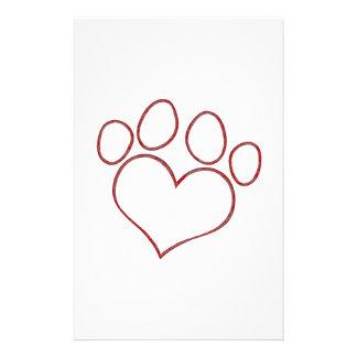 Heart Shaped Paw Print Dog Cat Puppy Kitten Personalized Stationery