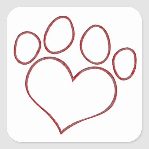 Heart Shaped Paw Print Dog Cat Puppy Kitten Stickers