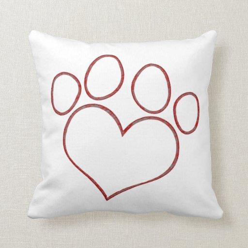 Heart Shaped Paw Print Dog Cat Puppy Kitten Throw Pillow Zazzle