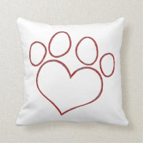 Heart Shaped Paw Print Dog Cat Puppy Kitten Throw Pillow