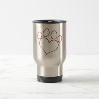 Heart Shaped Paw Print Dog Cat Puppy Kitten Travel Mug