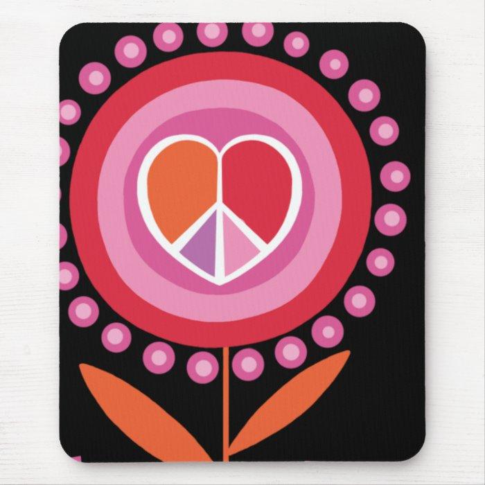 Heart shaped Peace Sign Flower MousePad