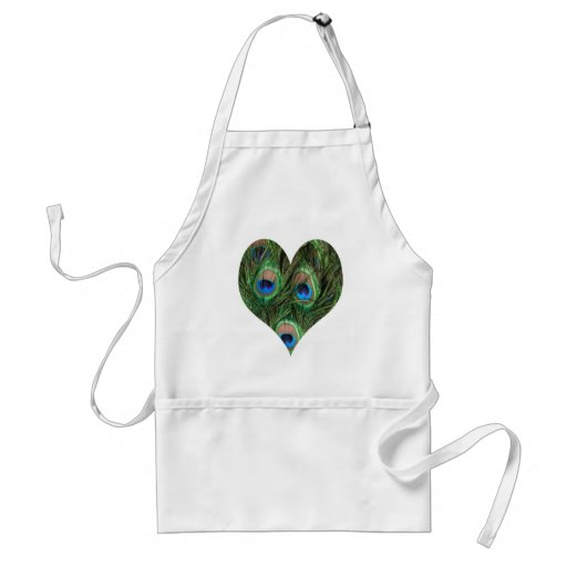 Heart Shaped Peacock Feather Apron