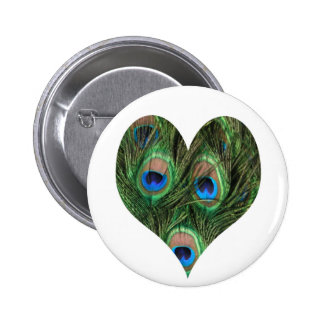Heart Shaped Peacock Feather Button