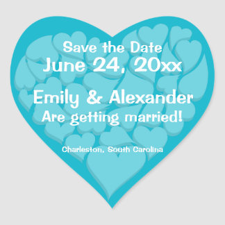 Heart Shaped Personalized Save the Date Stickers