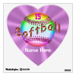 Heart Shaped Personalized Softball Decals for Girl