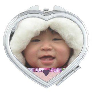 Heart-Shaped Photo Compact Vanity Mirror