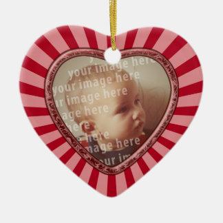 Heart Shaped Photo Frame Ceramic Ornament