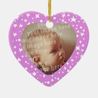 Heart Shaped Photo Frame Double-Sided Heart Ceramic Christmas Ornament