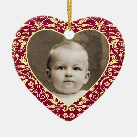 Heart Shaped Photo Frame Floral Ceramic Ornament