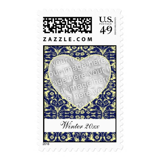 Heart Shaped Photo Frame Floral Stamp