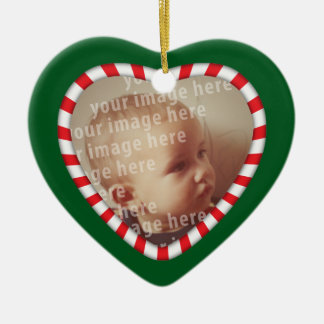 Heart Shaped Photo Frame Double-Sided Heart Ceramic Christmas Ornament