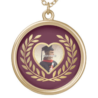 Heart Shaped Photo Frame with Wreath Gold Plated Necklace