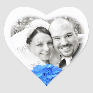 Heart Shaped Photo & Hydrangea Wedding Sticker