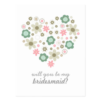 heart shaped pink flowers my bridesmaid vertical postcard