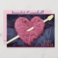 heart-shaped pink yarn baby girl shower invitation