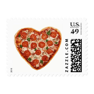 heart shaped pizza postage postal stamps
