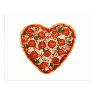 heart shaped pizza postcard