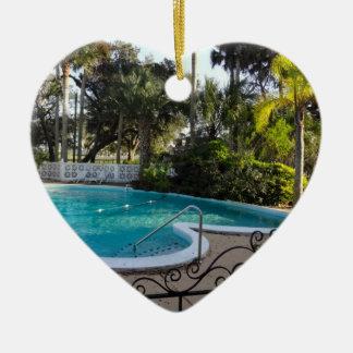 Heart Shaped Pool River Lily Inn - Daytona Beach Ceramic Ornament