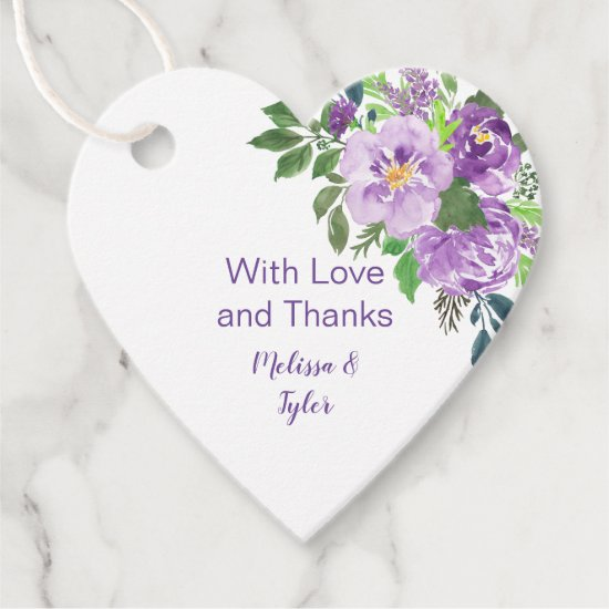 Heart Shaped Purple Lavender Floral Wedding | Favor Tags